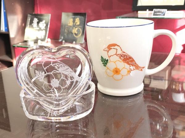生徒さんの作品 可愛らしい小物入れとマグカップです。