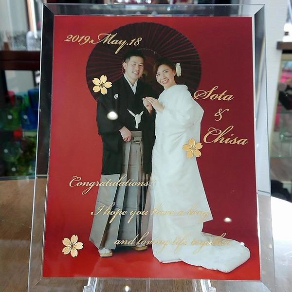 結婚式 サプライズ プレゼント ガラス印刷