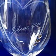 ハートインハート ワイングラス お名前だけでなく文字でも