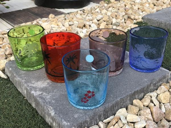 爽やかなデザインの琉球グラス