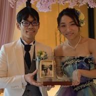 結婚式のWelcomeボードにガラスのフォトフレーム