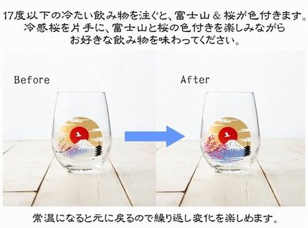 【冷感グラス「富士山」木箱入り名入れペアグラス】結婚祝のプレゼントや誕生日・記念日などのお祝いに!