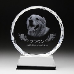 クリスタル ペット用お位牌(小)KP-1S 彫刻代金込み メモリアル ペット位牌 2D写真彫刻